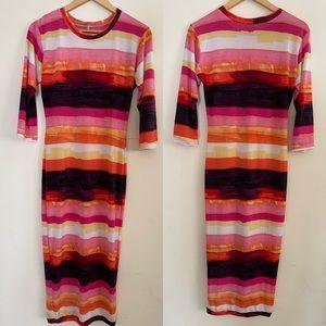 Reco Chapple | Colorful Striped Midi Dress Sz XL